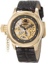 Invicta Women's Russian Diver Mechanical Skeletonized See Thru Gold Dial Pearl Tone Genuine Leather