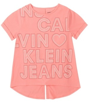 Calvin Klein Big Girls Outline Heart Tee