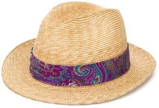 Etro paisley print band straw hat