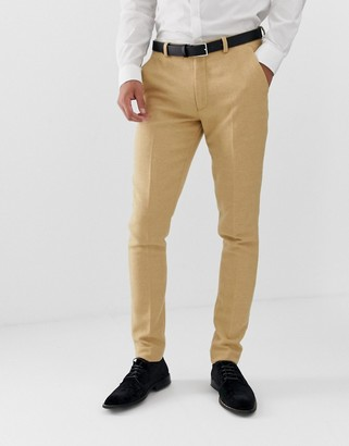 ASOS DESIGN wedding super skinny suit trousers in stone wool blend micro check