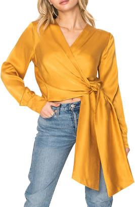 LAMARQUE Long-Sleeve Silk Wrap Blouse