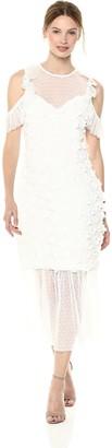 Elliatt Women's Apparel Women's Oberon Cold Shoulder Floral Applique MIDI Dress