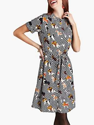 Yumi Dog Print Shirt Dress, Multi