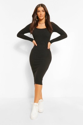 boohoo Premium Ribbed Scoop Neck Midi Dress