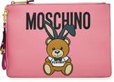 Moschino Bunny Teddy Printed Leather Clutch