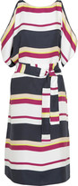 Raoul Bonnie cutout striped silk dress