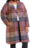 Halogen Plaid Tweed Coat (Plus Size)