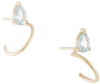 NATASHA SCHWEITZER 9kt yellow gold mini Lara topaz hoops