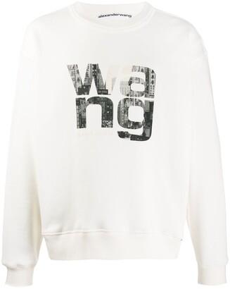 Alexander Wang Crew Neck Printed Logo Sweater