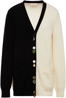 Tory Burch Embellished Two-tone Wool And Cashmere-blend Cardigan