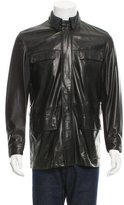 Salvatore Ferragamo Leather Mock Neck Jacket