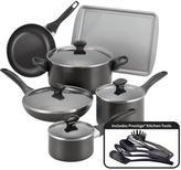 Farberware 15-Piece Black Cookware Set with Lids