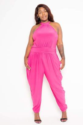 Couture Buxom Haltered Harem Jumpsuit in Pink Size 1X