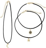 Thumbnail for your product : Sterling Forever 14K Gold Plated Brass Suede Chokers with Moon, Star, & Sun Charms - Set of 3