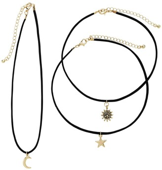 Sterling Forever 14K Gold Plated Brass Suede Chokers with Moon, Star, & Sun Charms - Set of 3