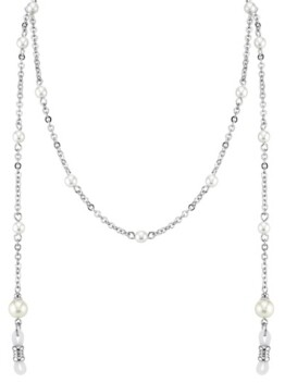 """2028 Silver-Tone Chain with Simulated Pearl Eyeglass Holder 30"""""""