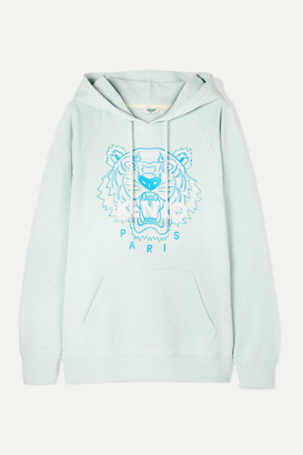 Kenzo Embroidered Cotton-jersey Hoodie - Sky blue