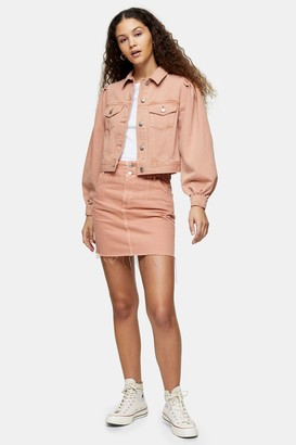 Topshop Womens Considered Apricot Denim Button Front Skirt - Apricot