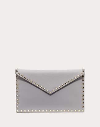 Valentino Garavani Rockstud Grainy Calfskin Envelope Pouch Women Pastel Grey 100% Pelle Di Vitello - Bos Taurus OneSize