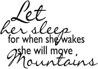 """Möve Design With Vinyl Let Her Sleep When She Wakes Mountains Decal, 12x18"""""""