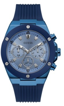 GUESS Men's Blue Silicone Multifunction Watch 46mm