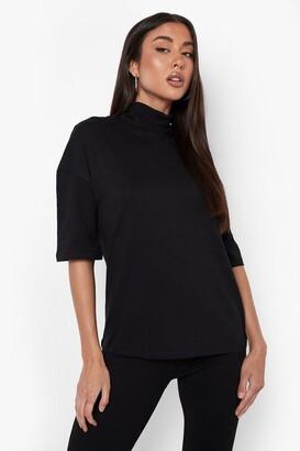 boohoo Basic Oversized High Neck 3/4 Sleeve T-Shirt
