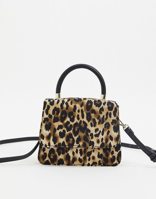 Who What Wear Casey mini bag with cross body strap in leopard