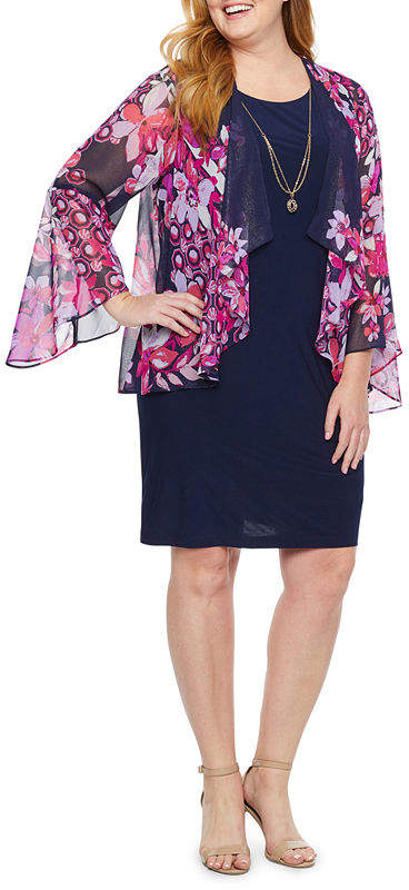 3-4 Sleeve Floral Faux Jacket Dress-Plus