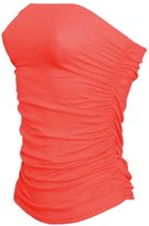 JanisRamone New Womens Boobtube Bandeau Strapless Top Ladies Side Ruched Crop Bra Vest Top
