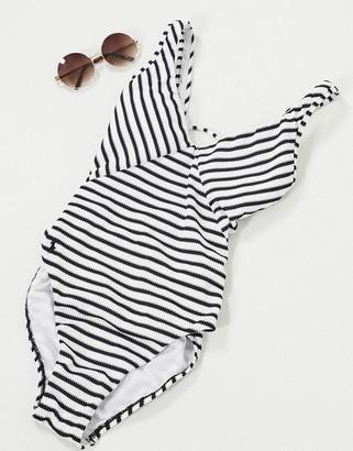 Polo Ralph Lauren Pique Stripe Lace-Back Swimsuit
