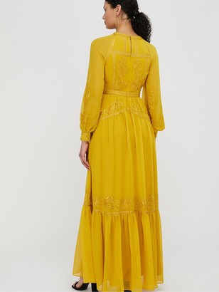 Monsoon Florence Embroidered Long Sleeve Dress - Yellow