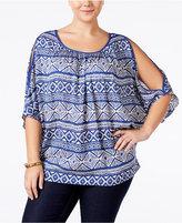 ING Trendy Plus Size Cold-Shoulder Printed Top