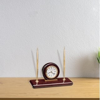 Howard Miller Rosewood Desk Classic, and Transitional Style Mantel Clock with two Pens and Pen Holders, Reloj del Estante