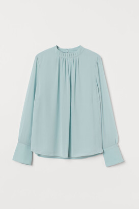 H&M Pleat-front Blouse - Turquoise