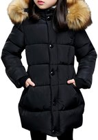 JiaYou Girl Child Kid Removable Faux Fur Hooded Zip Warm Winter Coat(,Height 47-51Inches)