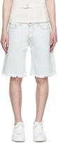 Off-White Blue Denim Bleach Shorts