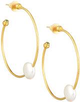 Gurhan Delicate Spring 24k Hoop Earrings w/ Pearls & Emeralds