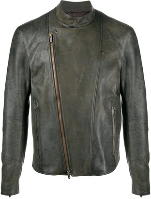 Ajmone Diagonal Zip Leather Jacket
