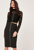 Missguided Premium Bandage Hook and Eye Midi Skirt Co Ord Black