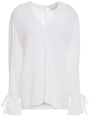3.1 Phillip Lim Frayed Textured-crepe Top