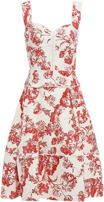 Oscar de la Renta Pleated Floral-print Cotton-blend Boucle Dress