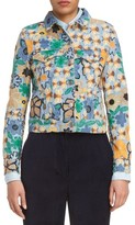 Acne Studios Women's Chea Floral Embroidered Crop Denim Jacket