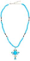 Oscar de la Renta Semi-Precious Long Crystal Necklace with Cross