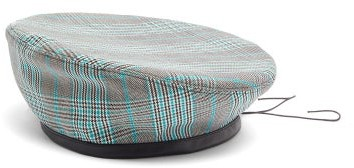 Marni Leather-trimmed Checked Cotton-blend Beret - Mens - Grey