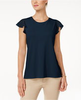 Charter Club Petite Flutter-Sleeve Top, Only at Macy's