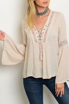 Flying Tomato Tan Peasant Blouse