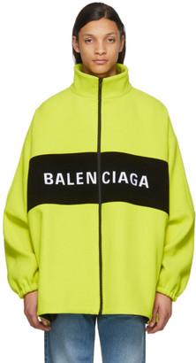 Balenciaga Yellow Wool Logo Zip-Up Jacket