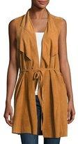 Neiman Marcus Draped Suede Vest, Camel