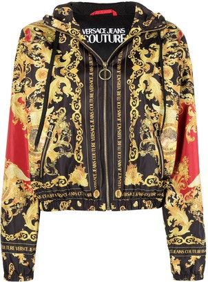 Versace Jeans Couture Barocco print hooded bomber jacket