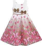 Sunny Fashion DZ81 Girls Dress Butterfly Double Bow Tie Party